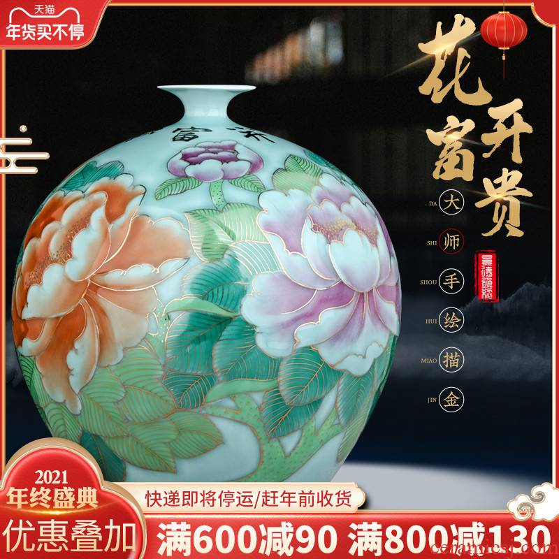 Jingdezhen famous hand - made ceramics paint the big vase furnishing articles sitting room sitting room of Chinese style household adornment arranging flowers