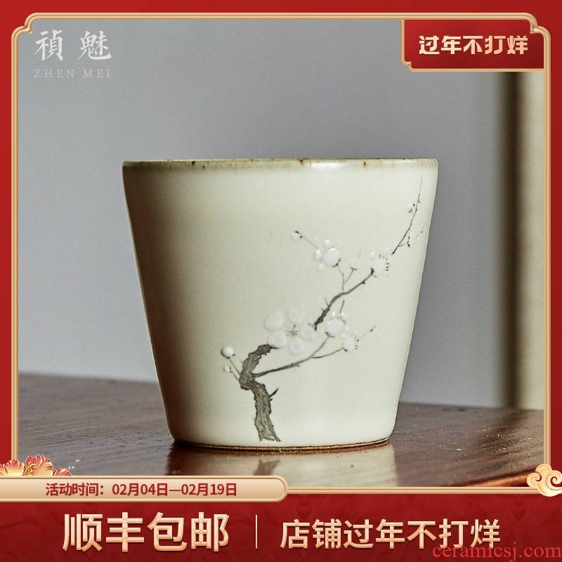 Shot incarnate your up hand - made name plum the master cup single CPU jingdezhen ceramic kung fu tea set personal open sample tea cup