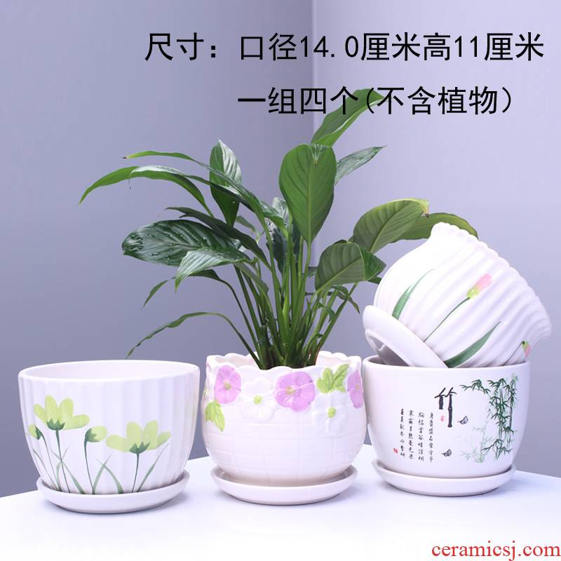 Extra large flower pot ceramic large tray with creative move household bracketplant flowerpot more than other meat
