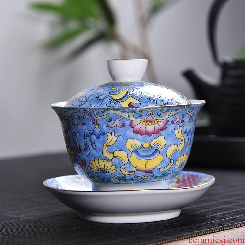 Hui shi colored enamel only three bowls of tureen steak flower tea tureen kung fu tea set of blue and white porcelain ceramic bowl cups