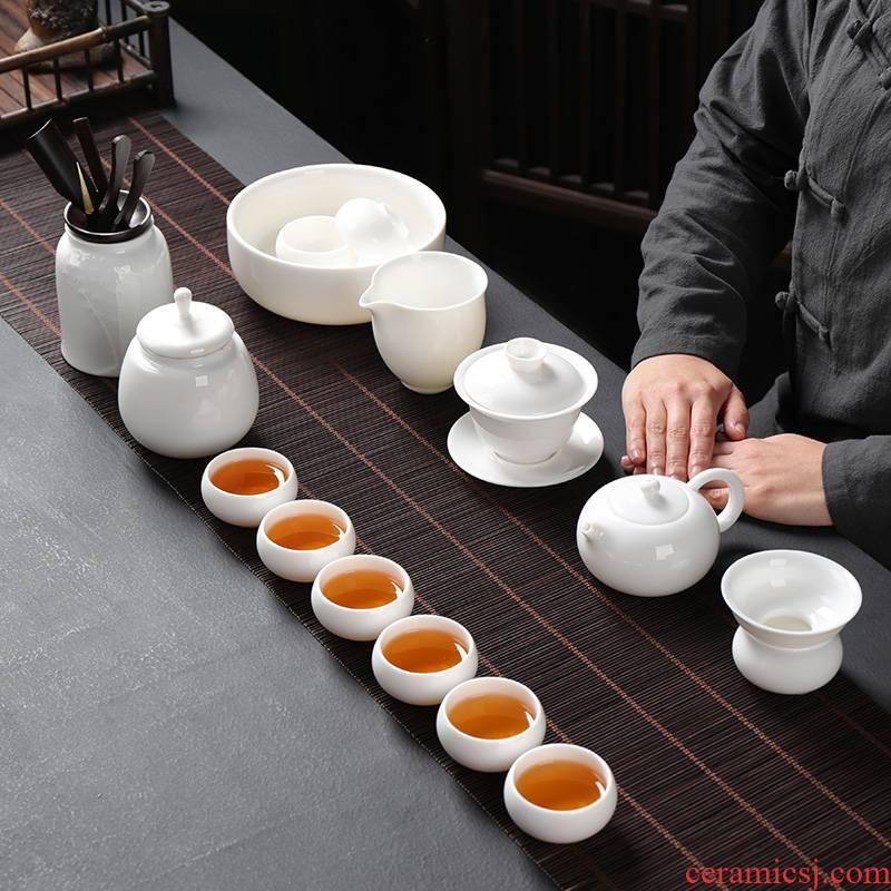 Dehua suet jade porcelain kung fu tea set a complete set of white porcelain tea tea tureen teapot teacup household ceramics