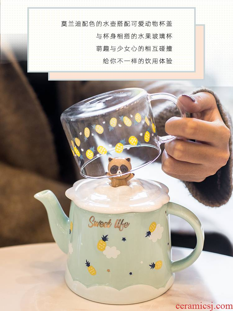 Japanese express suit cold ceramic kettle cup home sitting room heat resisting high temperature resistant to ultimately responds cool water bottle glass teapot