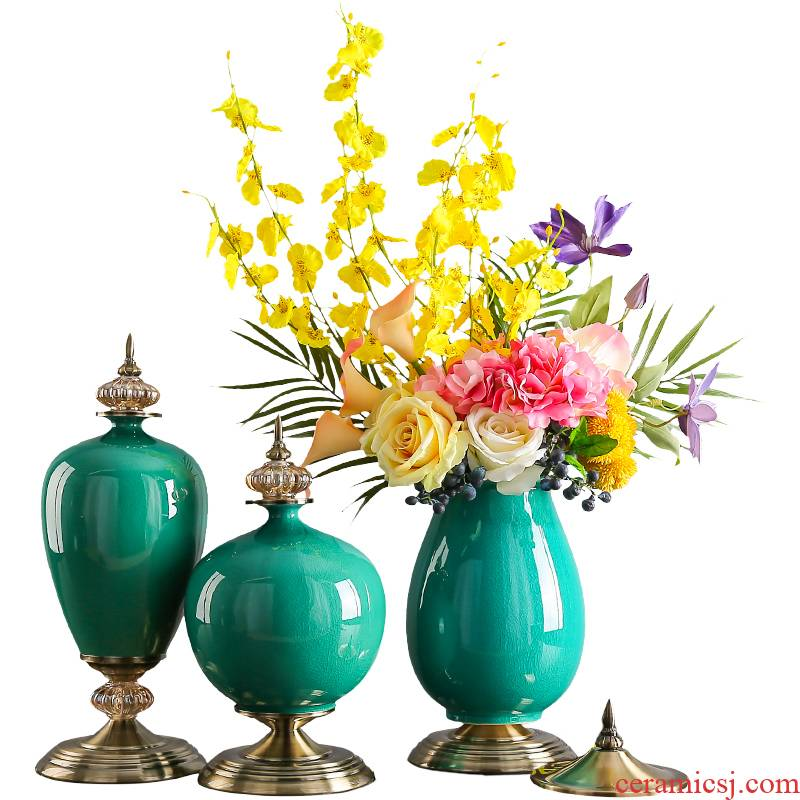 New ceramic vase furnishing articles household act the role ofing is tasted artical light flower arranging dried flowers, TV ark, the key-2 luxury of the sitting room porch decoration