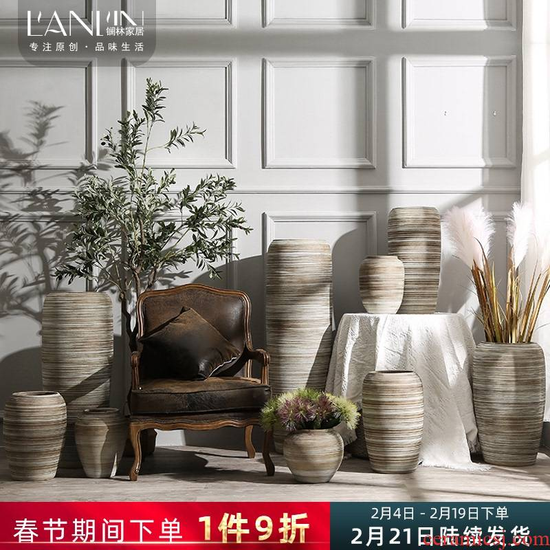 Ground dried flowers large sitting room vase hydroponic flower implement retro rough some ceramic pot home decoration ceramic furnishing articles