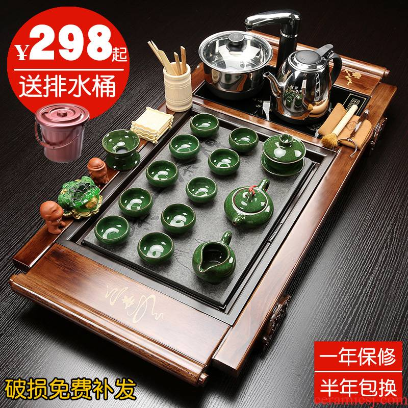 Hui shi tea set home ceramic tea cup contracted electric magnetic furnace sharply stone solid wood tea tray of a complete set of tea