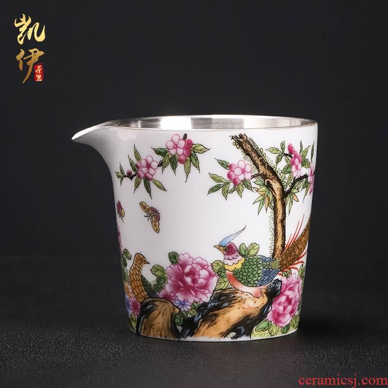 Colored enamel coppering. As silver 999 jingdezhen ceramic fair keller cup points have a cup of tea sea tea tea