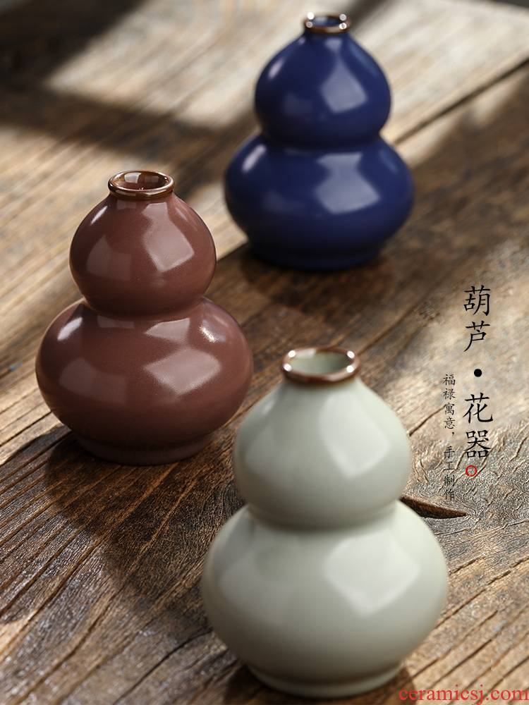 Jingdezhen pure manual gourd tea pet flower implement color glaze ceramic tea worm furnishing articles zen kunfu tea accessories