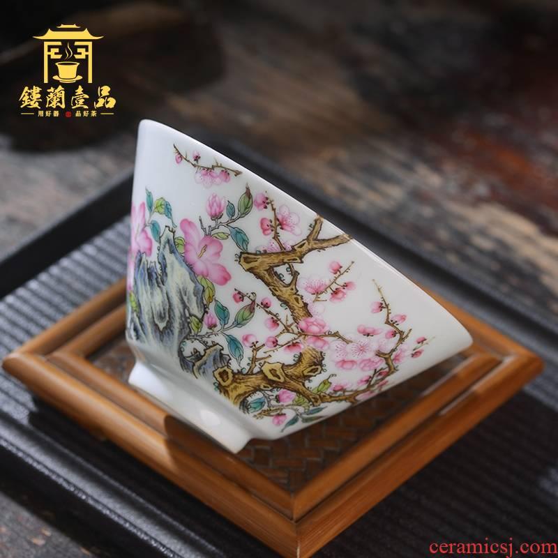 Jingdezhen ceramic all hand - made pastel branch name plum the master cup sample tea cup kung fu tea tea tea cups