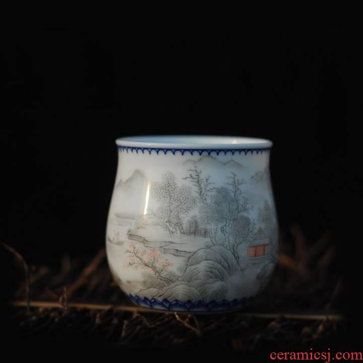 Submerged wood powder enamel color ink landscape teacup jingdezhen pure manual fragrance - smelling cup upright cup kung fu tea set