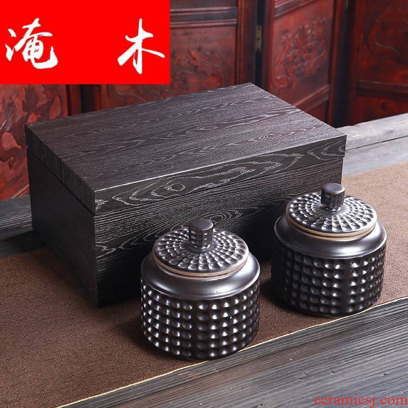 Submerged wood high - grade ceramic tea pot restoring ancient ways quality wooden tea packaging, gift box, black Chinese wolfberry boxes