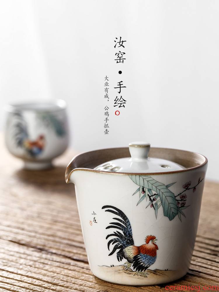 Jingdezhen your up hand grasp the teapot lid to use pure manual hot tea. Preventer hand - made big rooster kung fu tea set