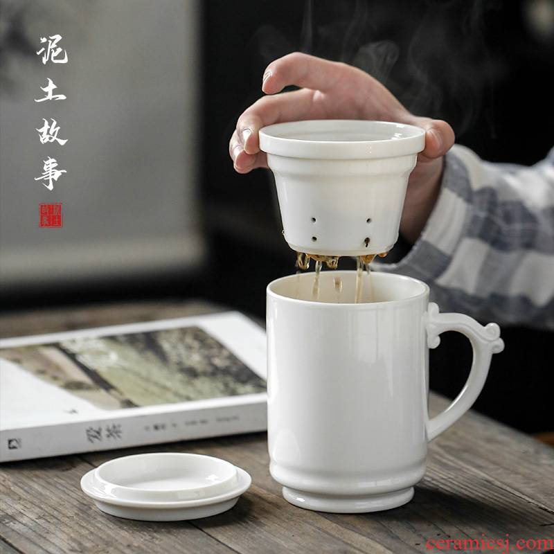 Dehua white porcelain cup by hand with cover cup of Chinese tea mugs ceramic personal working meeting of tea cups