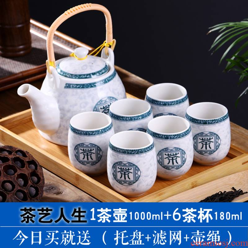 Jingdezhen ceramic tea set home sitting room kung fu tea set a pot of six cups of tea tray was Chinese style tea glass teapot