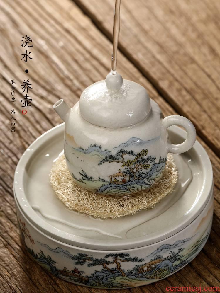 Plant ash glaze Chinese teapot pure manual jingdezhen hand - made scenery figure tea pot pot from the teapot