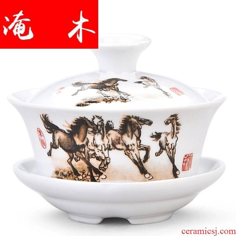 Submerged wood powder enamel hand - made only three large tea tureen ceramics jingdezhen kung fu tea tea cup