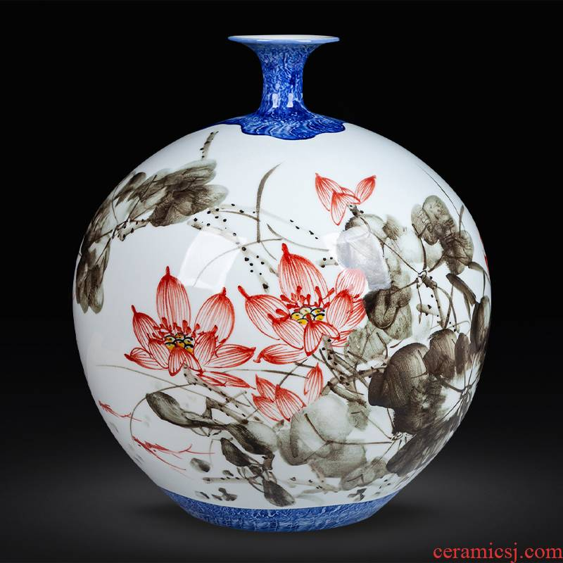 Jingdezhen ceramics hand - made large painting of flowers and pomegranate vase rich ancient frame sitting room adornment of Chinese style household furnishing articles