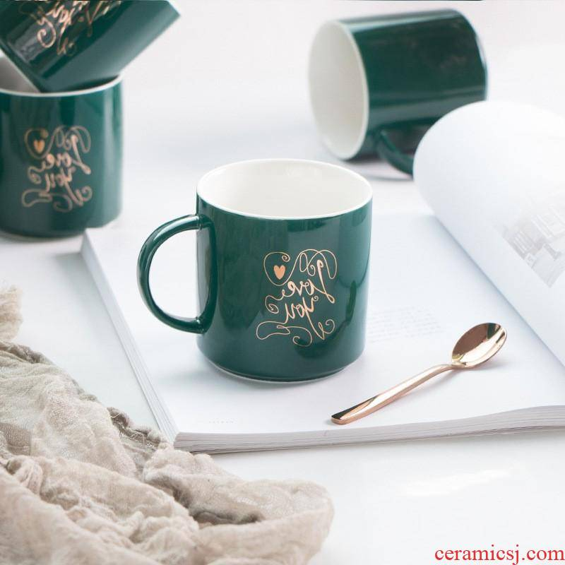 The ins creative home kitchen keller cup northern wind move green gold ceramic custom office coffee cup