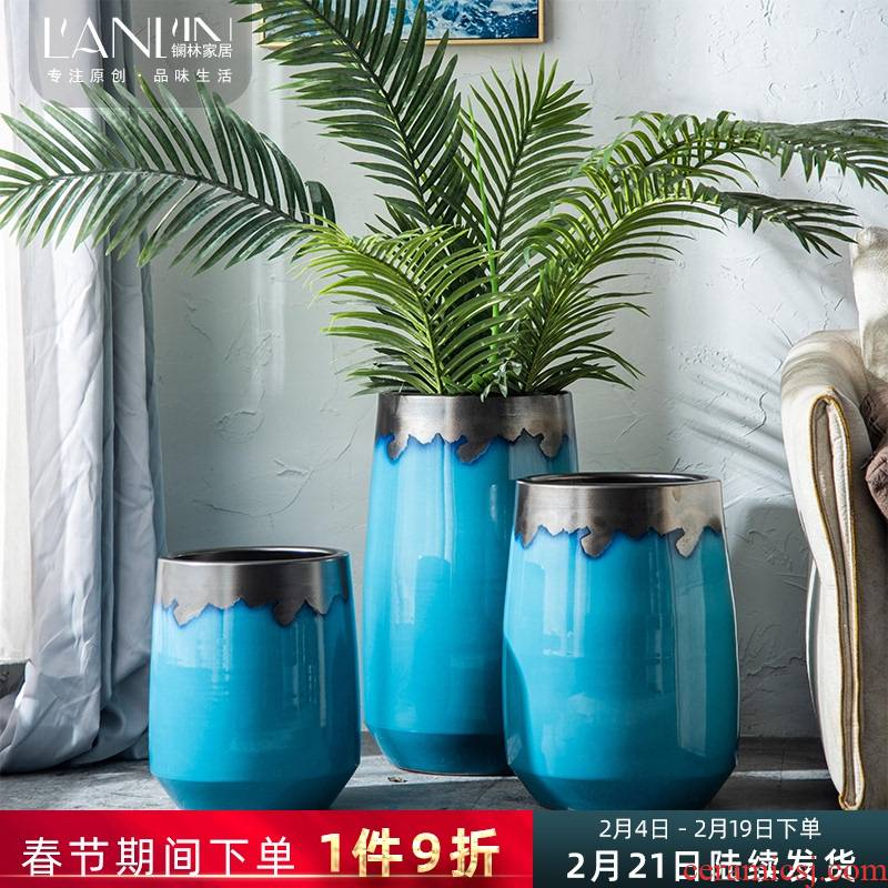 Jingdezhen Nordic vase creative modern contracted landing light key-2 luxury household ceramics large - diameter flowerpot combination living room