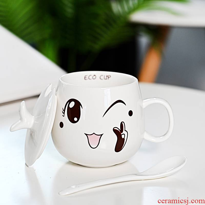 Hui shi ceramic mugs creative move cups with cover spoon tide lovers ultimately responds a cup of coffee cup men and women
