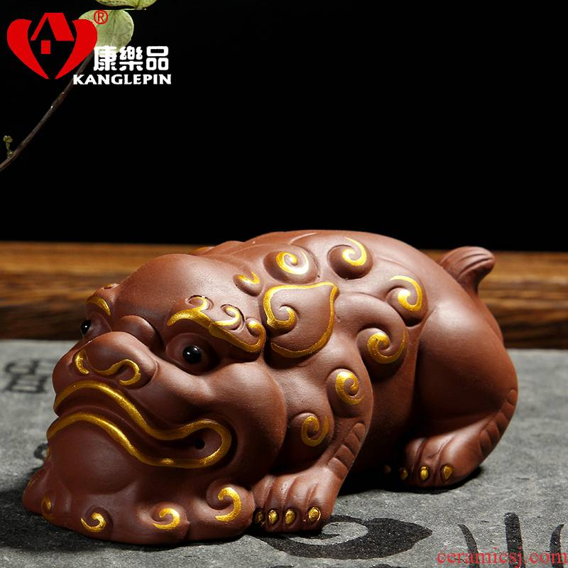 Recreation yixing purple sand tea spoil the mythical wild animal spittor tea set with parts of a complete set of kung fu tea set furnishing articles