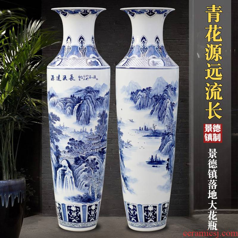 Jingdezhen ceramic hand - made of TV ark, has a long history of large of blue and white porcelain vase household the sitting room porch place