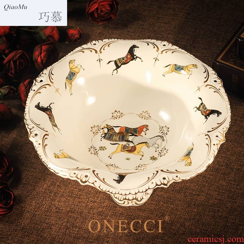 Qiao mu European ceramic compote fruit bowl sitting room creative modern household candy dishes high large bowl