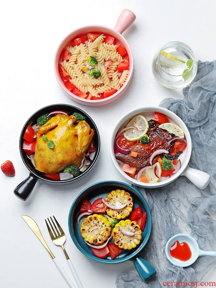 With the handle roasted bowl individual creative move ceramic home baking breakfast bowl of Japanese fruit salad oven baked bread and butter