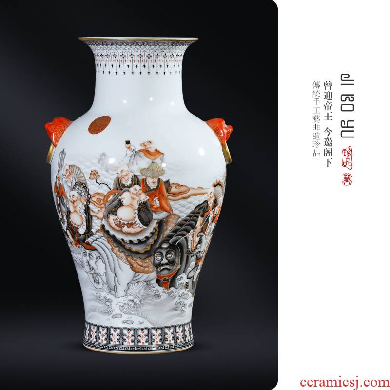 Imitation the qing qianlong hand - made color ink alum red paint Chinese style porch decorate furnishing articles 18 arhats jingdezhen ceramics