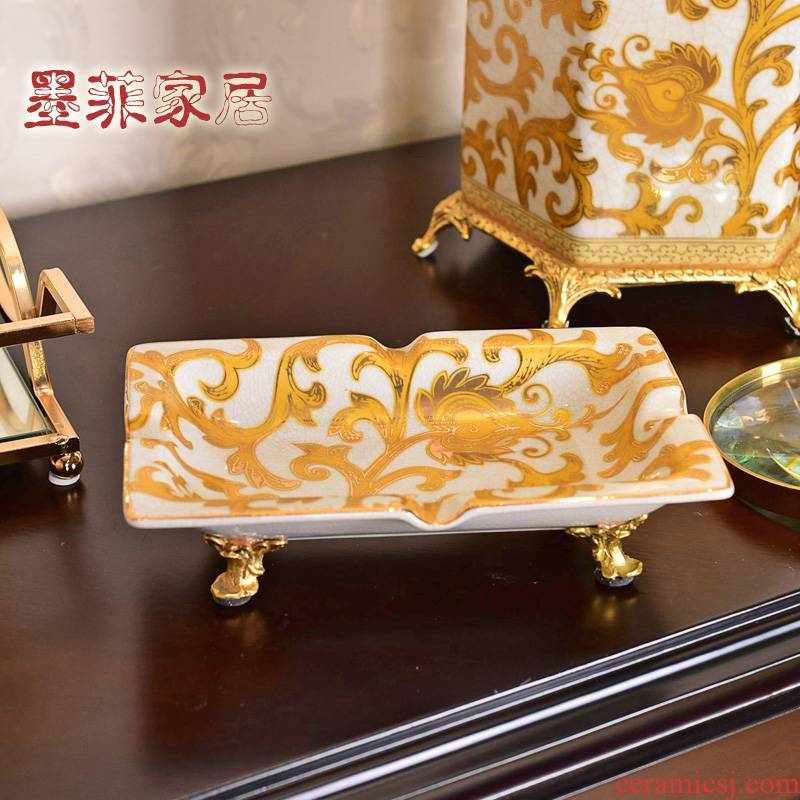 New Chinese style creative ceramics with high - end cooper move cigar ashtray key-2 luxury office sitting room home furnishing articles