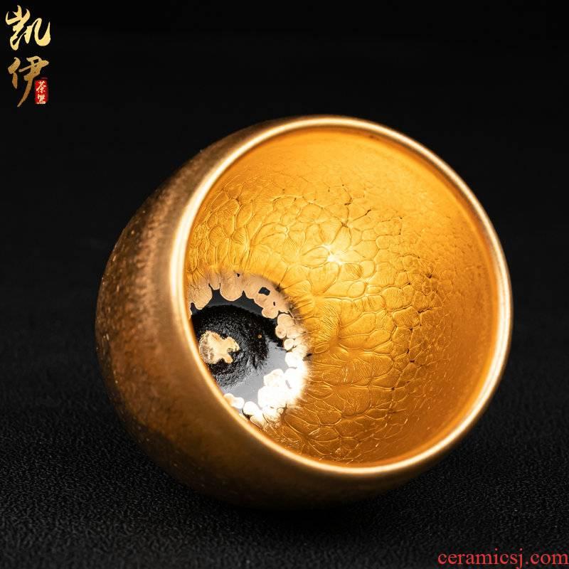Build light golden oil droplets egg cup manually cup jinzhan kung fu tea tea cup tire iron ceramic sample tea cup masters cup