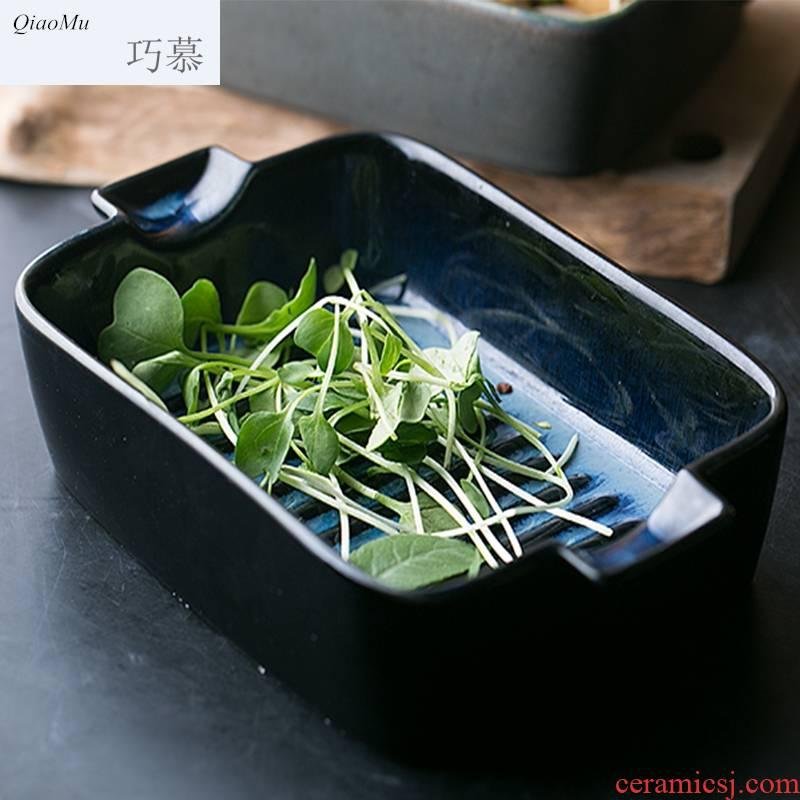 Qiao mu European ceramic baking utensils ears roasted bowl cheese baked FanPan baking utensils creative dish dish bowl