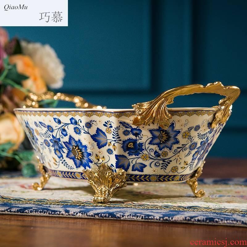 Qiao mu American fruit bowl sitting room creative ceramic Mosaic metal compote household enamel gold fruit basin of continental