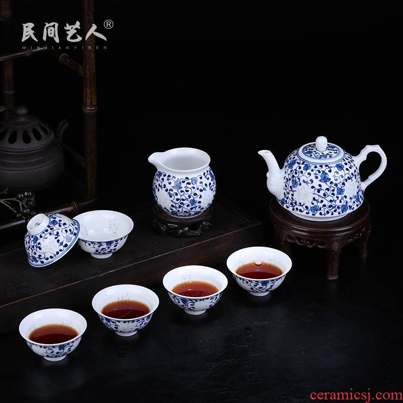 Jingdezhen blue and white porcelain tea set exquisite household fair kung fu tea cup cup teapot