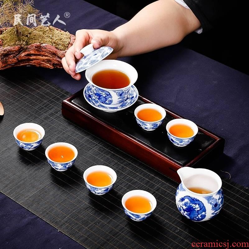 Jingdezhen pure manual hand - made porcelain glaze color tea set under the teapot fair keller cup of a complete set of tea service master
