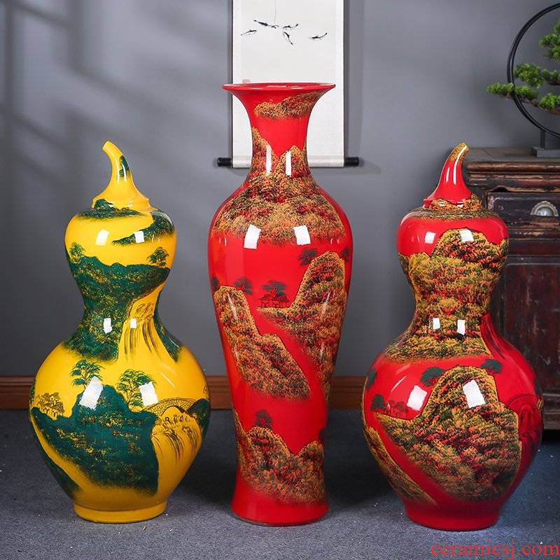 Jingdezhen ceramics China red hand - made scenery gourd of large vases, decorative furnishing articles sitting room hotel lobby