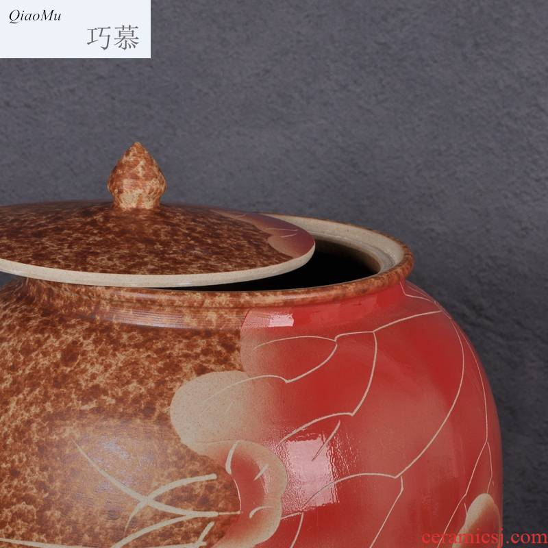 Qiao mu jingdezhen ceramic barrel ricer box 50 kg pack household with cover storage rice jar of pickles, flour water oil cylinder