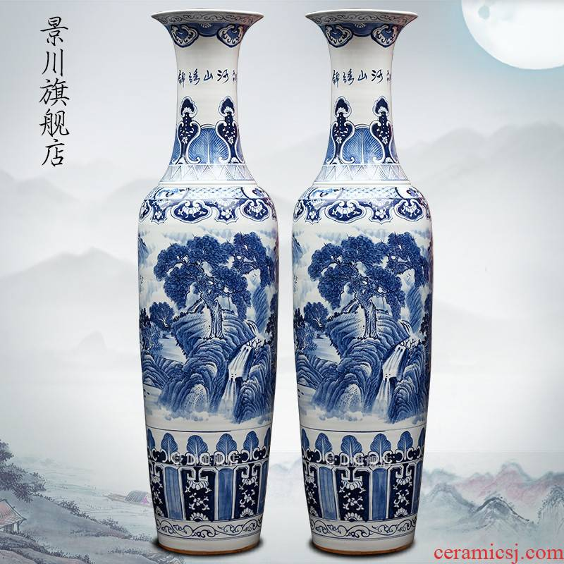Jingdezhen blue and white porcelain antique hand - made ceramics vase splendid was the French hotel living room accessories furnishing articles