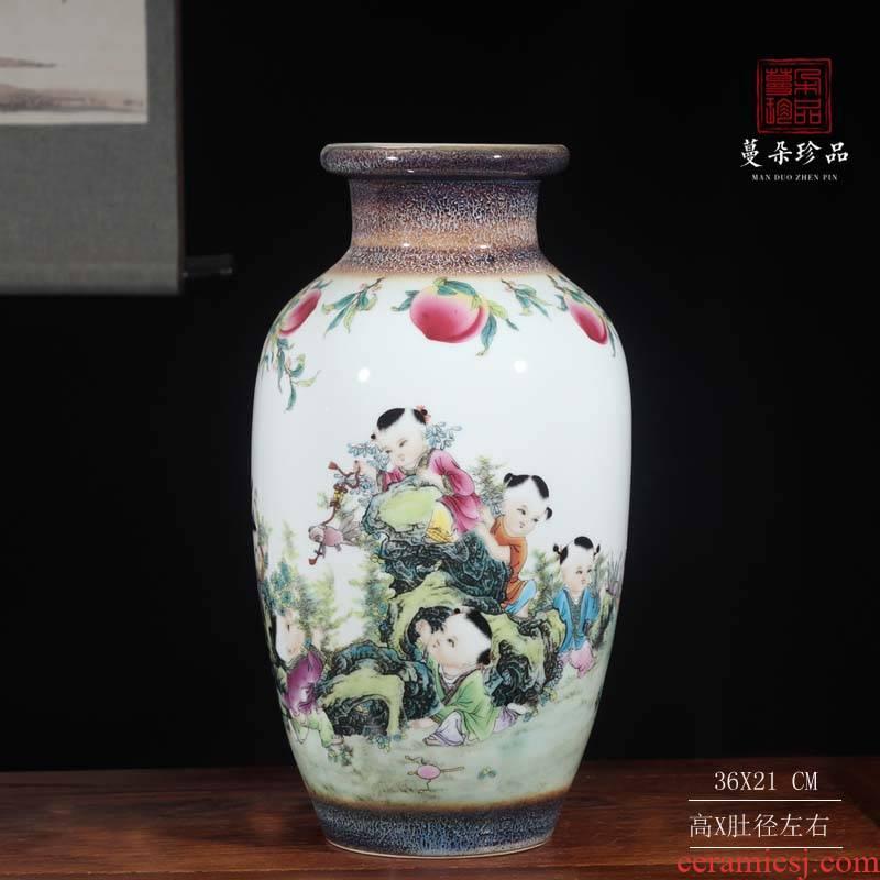 35 high jingdezhen porcelain up landscape tong qu xiantao vase dark classical decorative vase vase warm color