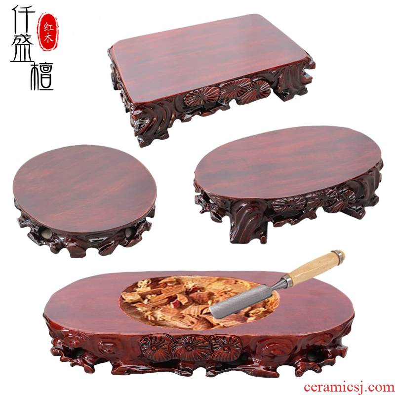 Buddha base solid wood carve patterns or designs on woodwork circular stone flower pot furnishing articles bracket can be excavated wooden crafts custom shelf