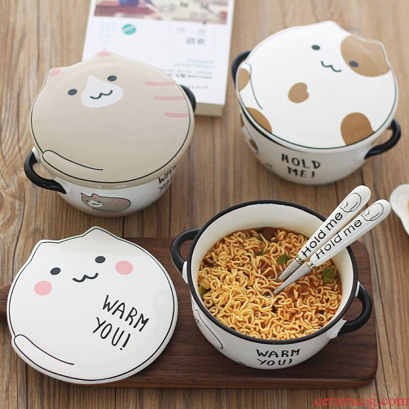 Bowls students simple Korean cover single loading ceramic is lovely new dormitory single character rainbow such to use web celebrity