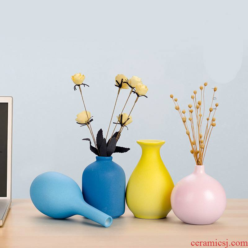 Contracted vase furnishing articles living room table creative home decoration ceramic small pure and fresh and dried flower arranging flowers ins