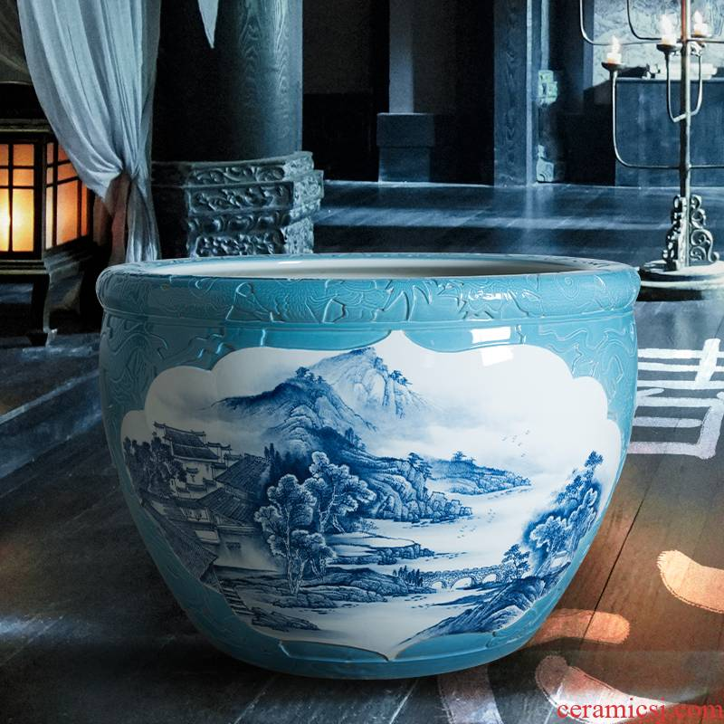 Water lily cylinder lucky company hotel furnishing articles and courtyard jingdezhen porcelain lotus feng shui aquarium landing the tortoise cylinder