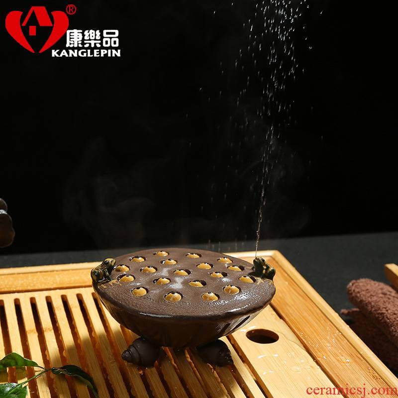 Recreation yixing purple sand tea from pet two green Eva water lotus tea pet furnishing articles kung fu tea set creative play