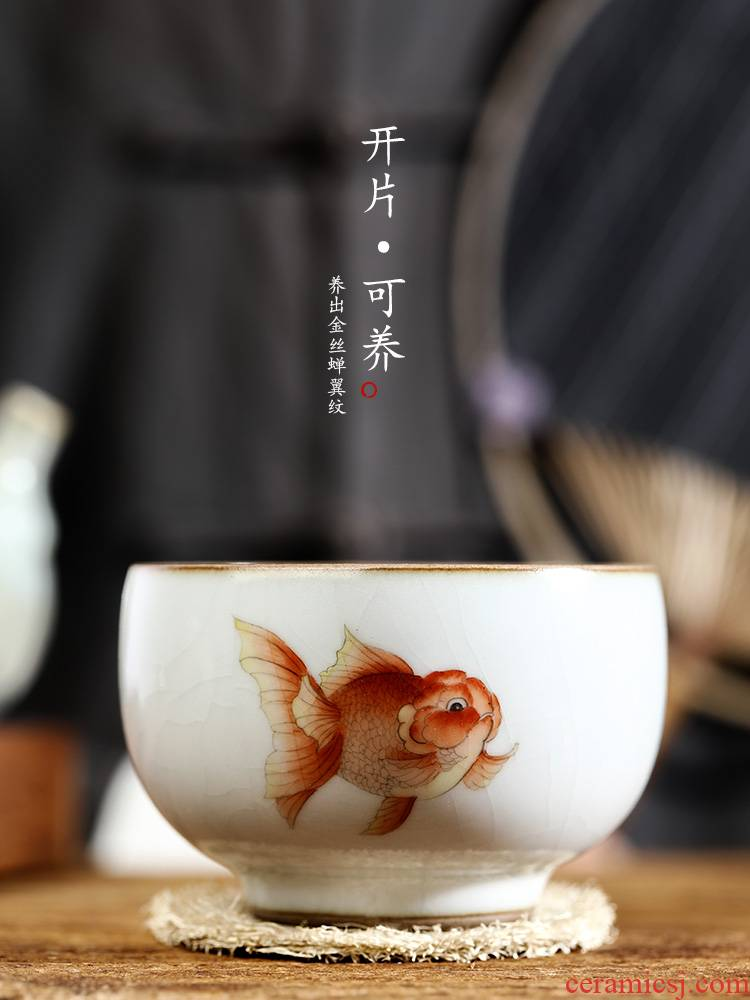 Hand - made kung fu tea cups ru up market metrix who cup jingdezhen checking sample tea cup single glass ceramics single goldfish bowl