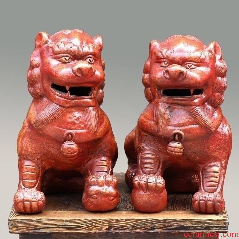 Jingdezhen purple clay its trumpet for lion town curtilage mesa desktop Chinese style furnishing articles furnishing articles feng shui lion to ward off bad luck