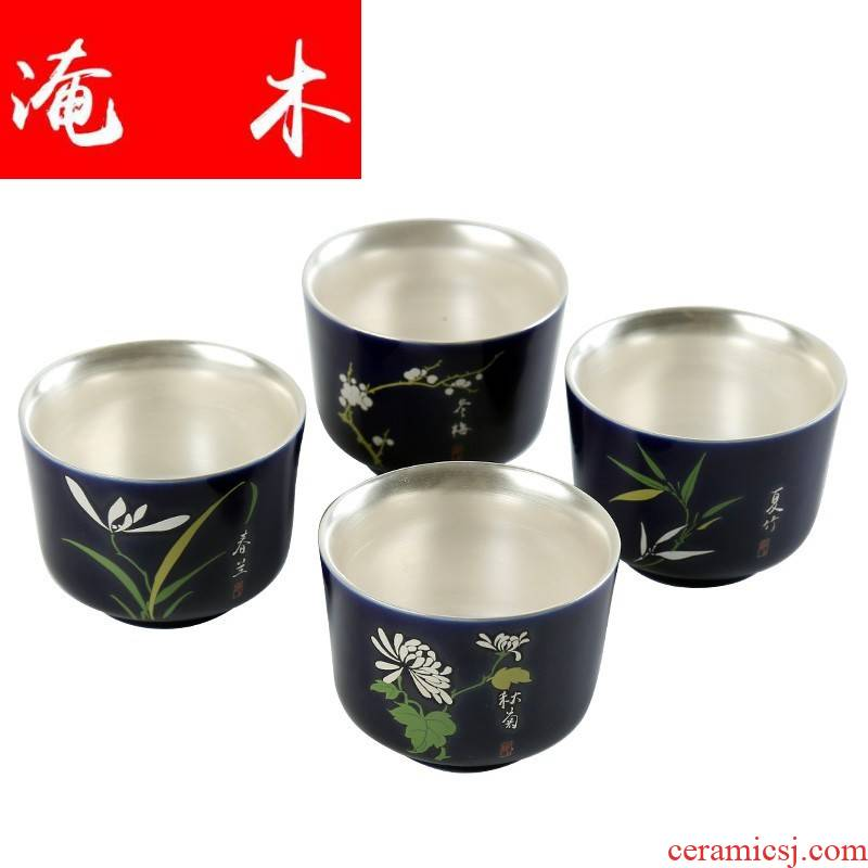 Submerged wood 999 sterling silver ceramic bowl master cup of large single CPU coppering. As silver enamel kung fu tea tea tea set