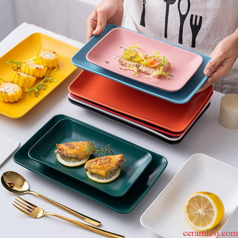 0 ceramic tableware web celebrity ins early wind the rectangle Nordic creative dim sum dishes steamed vermicelli roll dishes dish of household