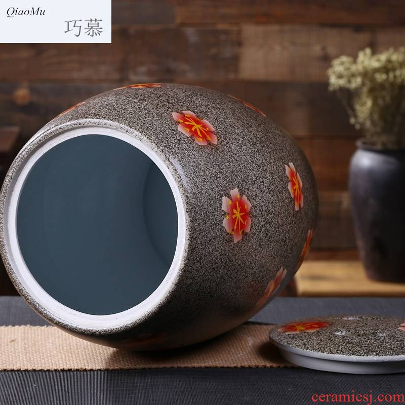 Qiao mu jingdezhen ceramic barrel ricer box moisture storage cylinder archaize creative who with cover tea cake cylinder 30 pounds looking