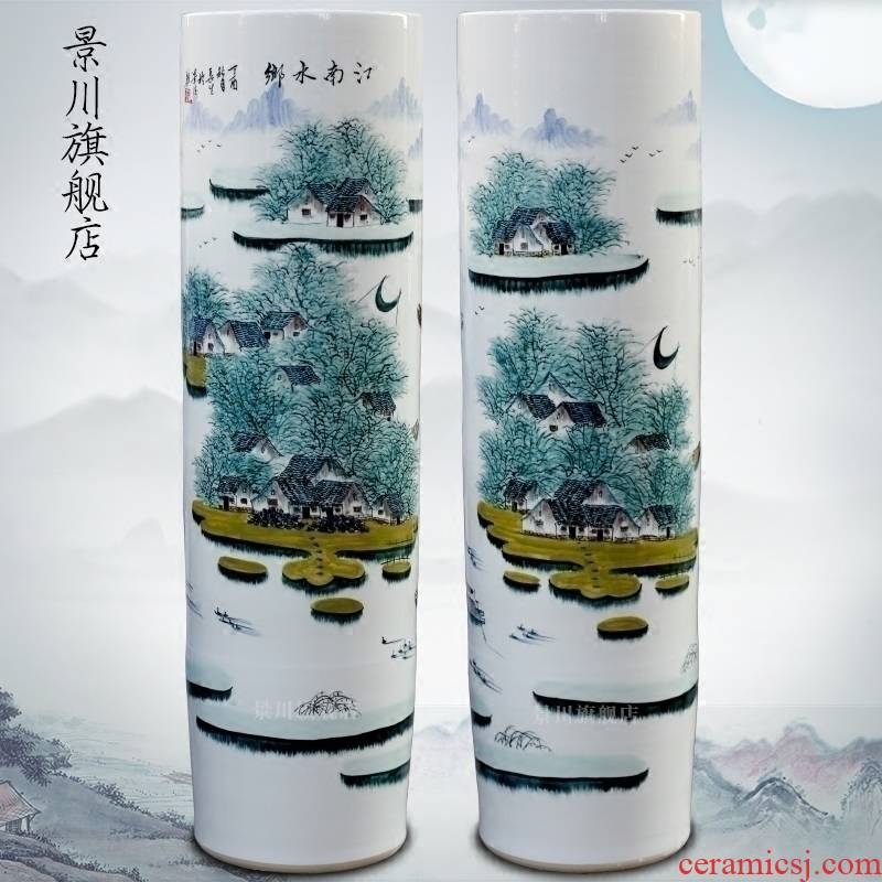 Jingdezhen ceramic hand - made pastel jiangnan water landing big vase home sitting room hotel shop decoration