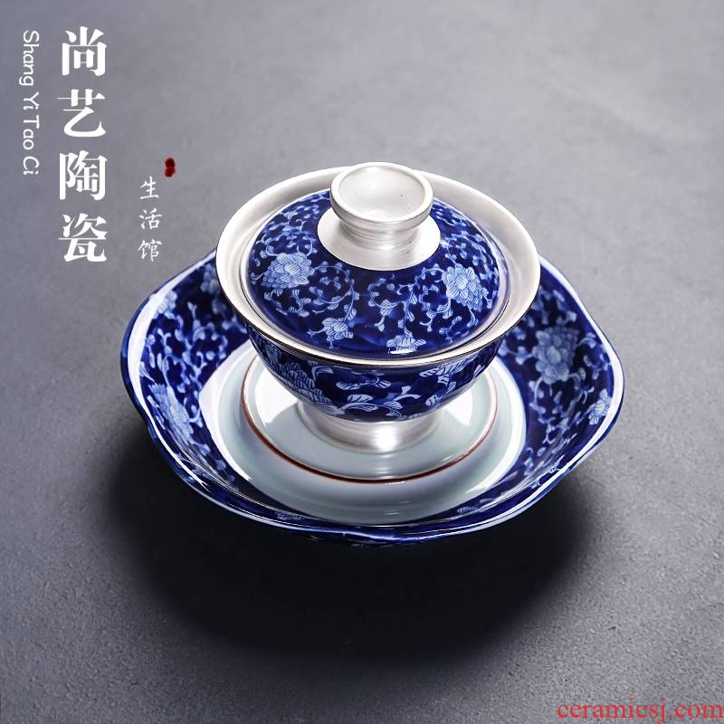 Three to 999 sterling silver, blue and white porcelain ceramic coppering. As silver tureen large bowl of kung fu tea tea bowl to bowl the teapot